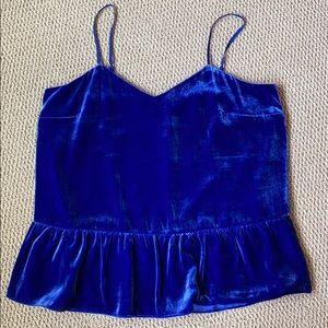 NWT!! J.Crew Blue Velvet Peplum Cami - TALL size